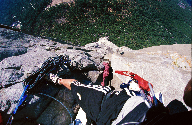 The author high on the Nose Route, circa 1991. El Capitan, Yosemite, Ca.